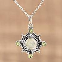 Prehnite and peridot pendant necklace, 'Spring Aurora' - Silver Pendant Necklace with Prehnite and Peridot