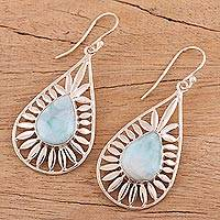 Larimar dangle earrings, 'Sky Corona' - Teardrop Shaped Larimar Dangle Earrings from India