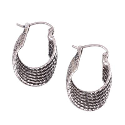 Unique Sterling Silver Hoop Earrings with Twist Design