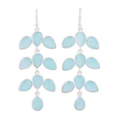 Long Aqua Blue Chalcedony Chandelier Earrings