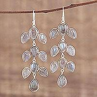 Labradorite dangle earrings, 'Leaf Cascade' - Dangle Earrings with Labradorite and Silver