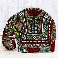 Chain stitched wool tea cozy, 'Marching Elephant in Red' - Indian Chain Stitched 100% Wool and Cotton Elephant Tea Cozy