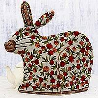 Chain stitched wool tea cozy, 'Hopping Rabbit' - Indian Chain Stitched 100% Wool and Cotton Rabbit Tea Cozy