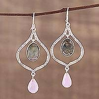 Labradorite and rose quartz dangle earrings,