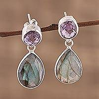 Amethyst and labradorite dangle earrings,
