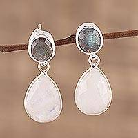 Rainbow moonstone and labradorite dangle earrings,