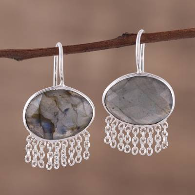 Labradorite dangle earrings, 'Mesmerizing Shadows' - Labradorite and Sterling Silver Dangle earrings with Chains