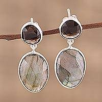 Labradorite and smoky quartz dangle earrings,