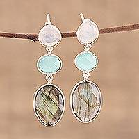 Multi-gemstone dangle earrings, 'Majestic Trio' - Multi Gemstone Sterling Silver Post Dangle Earrings