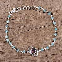 Amethyst and chalcedony pendant bracelet, 'All Eyes on You' - Amethyst and Blue Chalcedony Pendant Bracelet