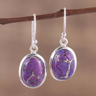 Sterling silver dangle earrings, 'Purple Magnetism' - Oval Purple Composite Turquoise Dangle Earrings