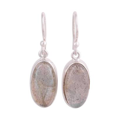 Labradorite Cabochon Dangle Earrings from India