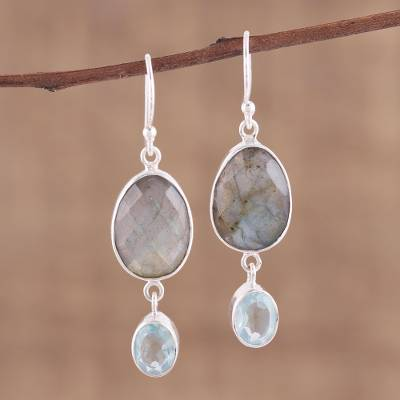Labradorite and blue topaz dangle earrings, Misty Muse