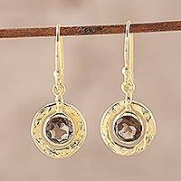 Gold plated smoky quartz dangle earring, 'Smoky Charm' (India)