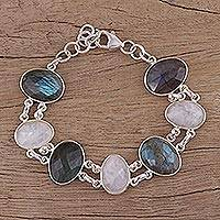 Rainbow moonstone and labradorite link bracelet, 'Moonlight and Mist' - Link Bracelet with Rainbow Moonstone and Labradorite