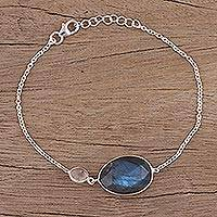 Labradorite and rose quartz pendant bracelet,
