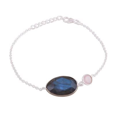 Sterling Silver Labradorite and Rose Quartz Pendant Bracelet