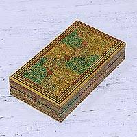 Wood decorative box, 'Valley of Flowers' - Decorative Wood Box with Hand Painted Floral Motifs