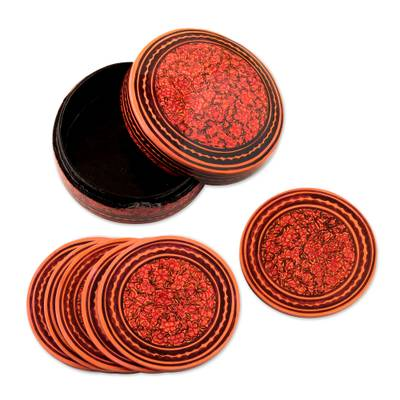 Boxed Coaster Set Hand Painted with Floral Motifs (Set of 6)