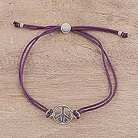 Sterling silver pendant bracelet, 'Peaceful Gleam in Purple' - Sterling Silver Peace Pendant Bracelet with Purple Cords