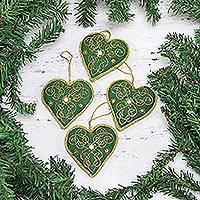 Ornaments, 'Green Hearts' (set of 4) - Four Heart-Shaped Beaded Ornaments in Green from India