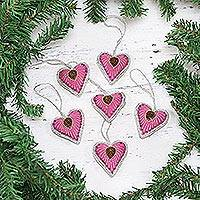 Ornaments, 'Beaded Hearts' (set of 6) - Four Heart-Shaped Beaded Ornaments in Red from India