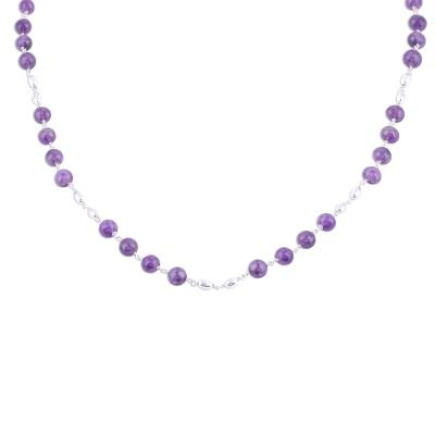 Amethyst and Sterling Silver Link Necklace from India