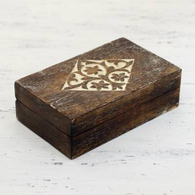 Wood decorative box, 'Blossoming Rhombus' - Handcrafted Floral Mango Wood Decorative Box from India