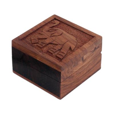 Elephant-Themed Acacia Wood Decorative Box from India
