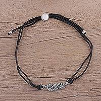 Sterling silver pendant bracelet, 'Black Leaves in Winter' - Artisan Leaf Theme Black Cord Bracelet with Sterling Silver