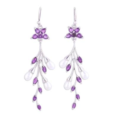 Amethyst and Cultured Pearl Dangle Earrings from India
