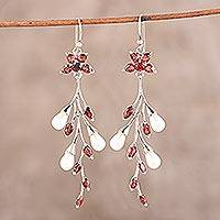 Garnet and cultured pearl dangle earrings, 'Red Branch' - Garnet and Cultured Pearl Dangle Earrings from India