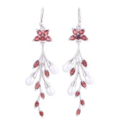 Garnet and Cultured Pearl Dangle Earrings from India