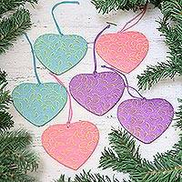 Paper ornaments, 'Leafy Hearts' (set of 6) - Set of Six Handcrafted Heart-Shaped Ornaments from India