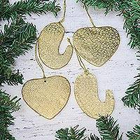 Paper ornaments, 'Golden Connection' (set of 4) - Four Gold-Tone Heart and Paisley Ornaments from India