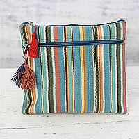 Cotton cosmetic bag, 'Voyage' - Multicolored Striped Hand Woven Cotton Cosmetic Bag