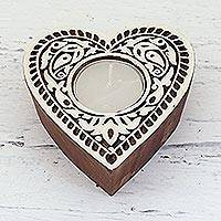 Wood tealight holder, 'Burning Heart' - Heart Shaped Mango Wood Tealight Holder from India