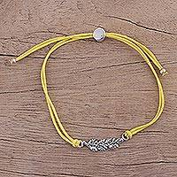 Sterling silver pendant bracelet, 'Yellow Leaves in Winter' - Fair Trade Sterling Silver Leaf Bracelet in Yellow