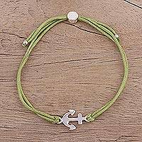 Sterling silver pendant bracelet, 'Anchor of Hope in Pistachio' - Sterling Silver Anchor Bracelet with Green Cotton Cords