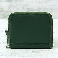 Leather zipper wristlet, 'Woodland Moss' - Green leather Wristlet Wallet Handmade in India