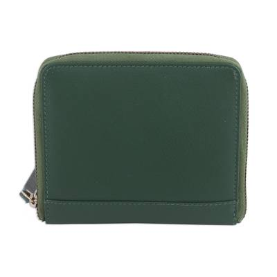 Green leather Wristlet Wallet Handmade in India