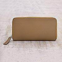Leather wallet, 'Woodland Mushroom' - Versatile Neutral Brown Women's Zipper Wallet