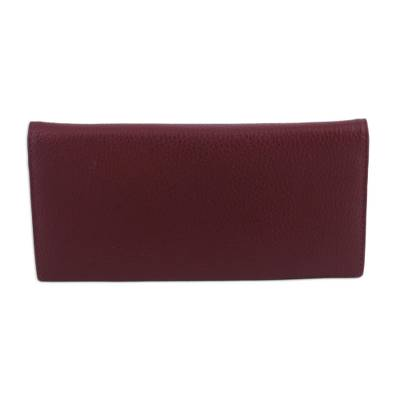 Handmade Leather Wallet in Mahogany from India