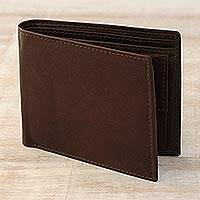 Men's leather wallet, 'Smart Choice in Espresso' - Men's Genuine Brown Leather Wallet Handcrafted in India