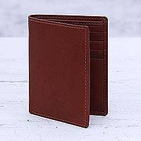 Leather bifold wallet, 'Cosmopolitan Russet' - Men's Leather Bifold Style Wallet in Russet