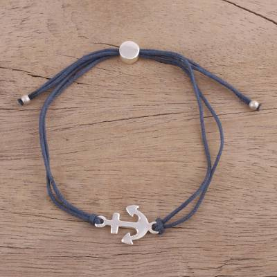 Sterling silver pendant bracelet, 'Anchor of Hope in Blue' - Blue Cord Bracelet with a Sterling Silver Anchor