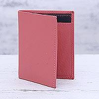 Leather card holder wallet, 'Plush Passion' - Pink Leather Card Holder Wallet from India
