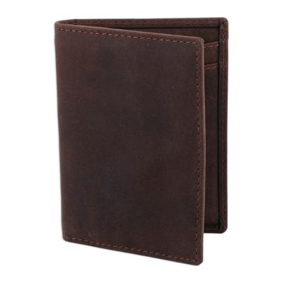 Dark Brown Leather Card Holder Bifold Wallet