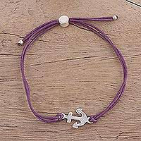 Sterling silver pendant bracelet, 'Anchor of Hope in Purple' - Fair Trade Sterling Silver Anchor Bracelet with Purple Cords