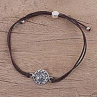 Sterling silver pendant bracelet, 'Brown Surya Blaze' (India)